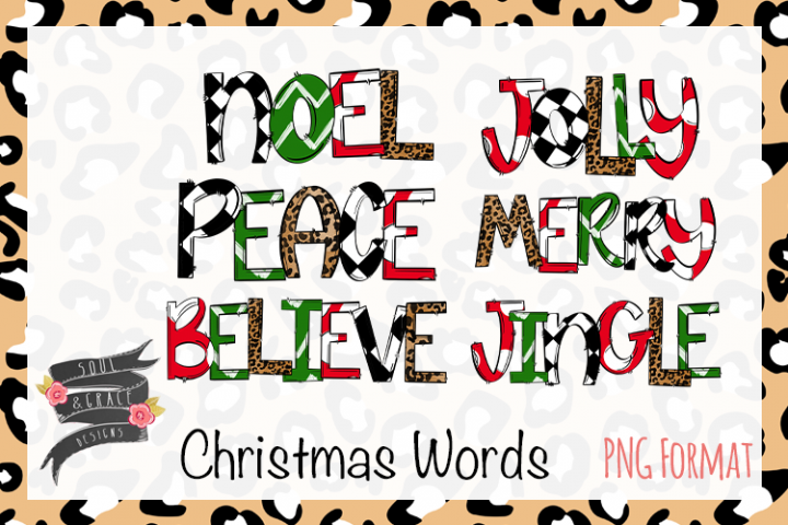 Christmas Word Bundle - Merry - Noel - Jolly - Believe