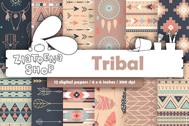 Tribal Digital Papers Aztec Digital Paper Set Ethnic pattern