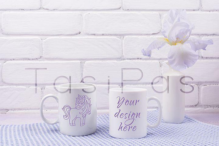 Two coffee mug mockup with iris flowers