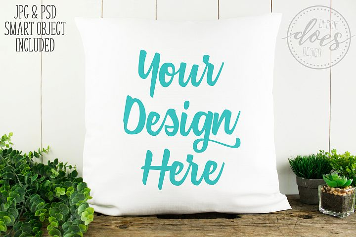 White Linen Pillow Mockup with Smart Object