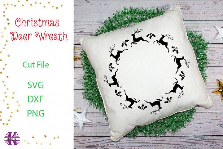 Christmas Deer Wreath SVG Cut File