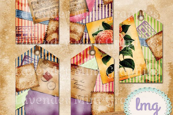 Vintage Stripe Scrapbook Journaling Tags-Shabby Chic