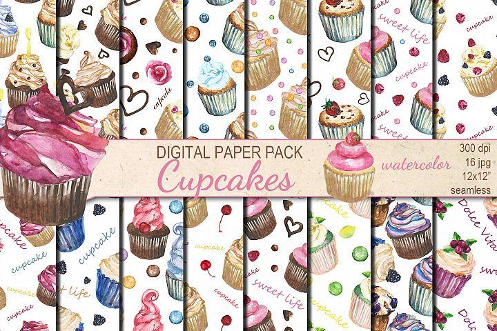 Watercolor Cupcakes seamless digital paper pack