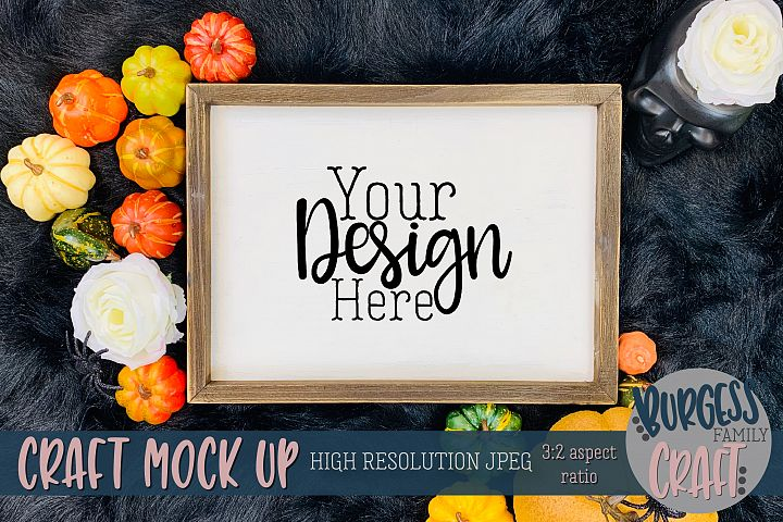 Horizontal sign pumpkins Craft mock up |High Res JPEG