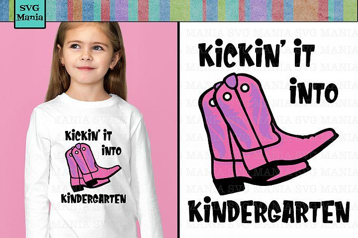 SVG File Kindergarten Girl First Day of School, Cowgirl SVG
