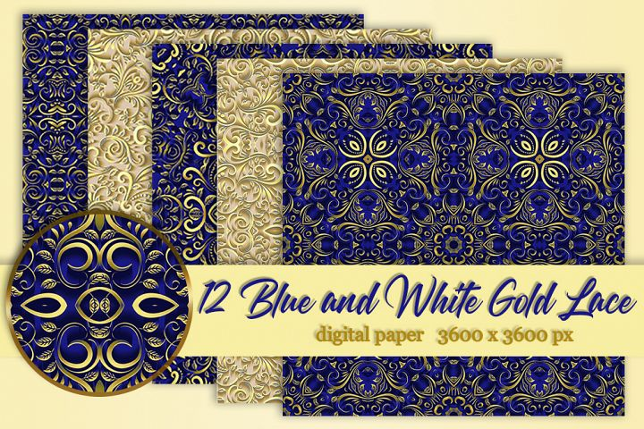 12 Blue and white Gold wedding lace digital paper Background