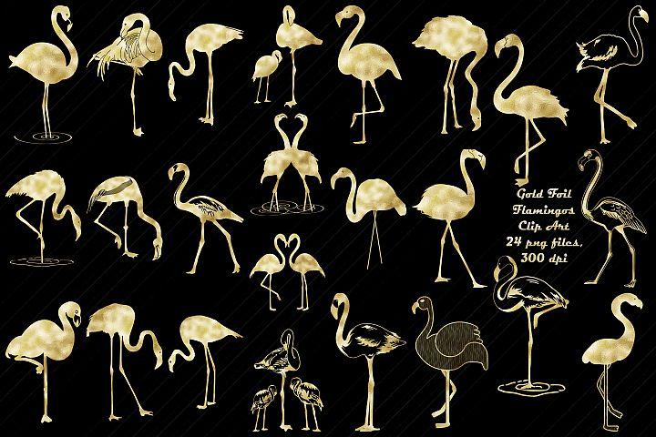 Gold Foil Flamingos Clip Art, Art Deco/Nouveau
