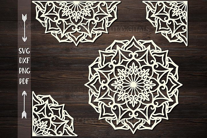 Mandala set corner half border plotter cut svg dxf templates