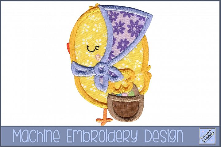 Girl Easter Chicken Applique Embroidery Design