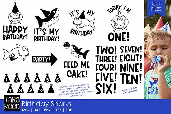 Birthday Sharks - Birthday SVG and Cut Files for Crafters