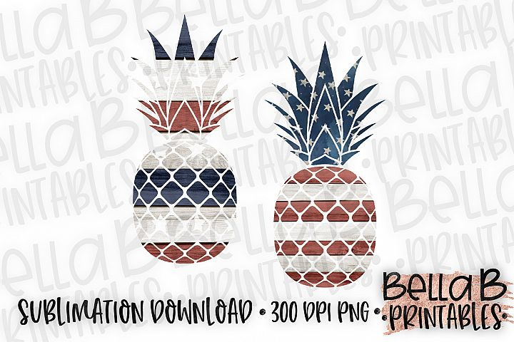 American, USA Pineapple Sublimation Design, 4th Of July