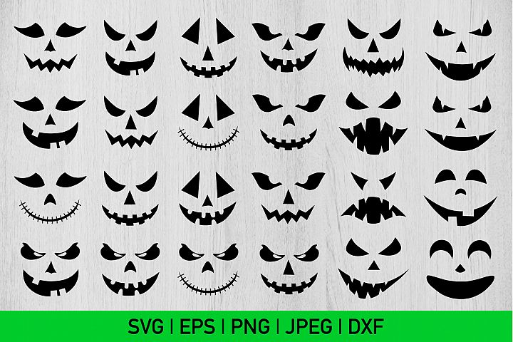 Halloween Faces Bundle Svg, Halloween Bundle Svg, Scary Svg