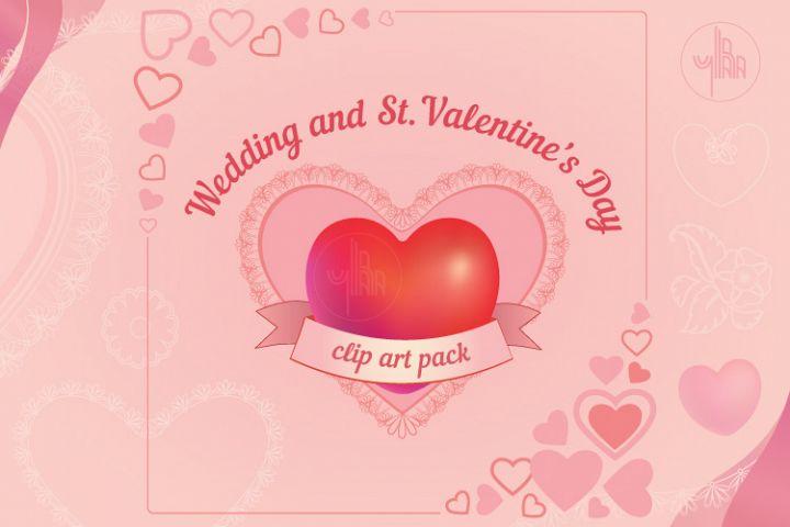 Wedding clip art set, heart shaped frames, PNG and vector