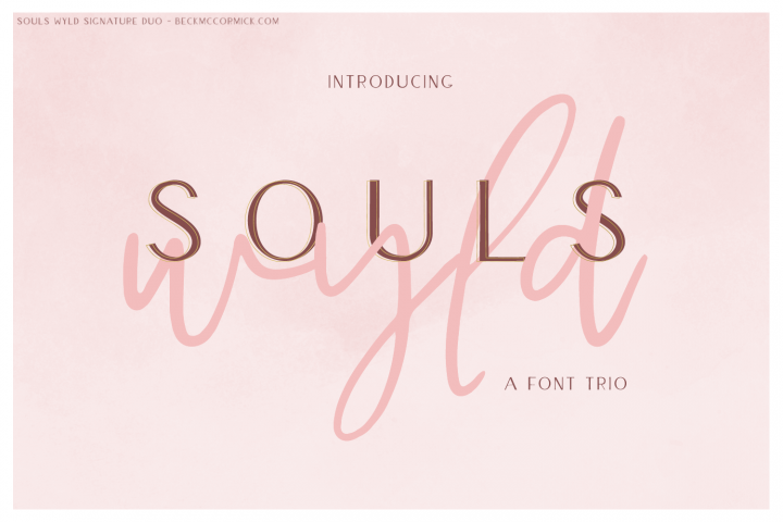 Souls Wyld Signature Script and Sans Font Trio