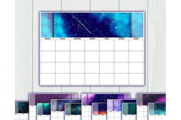 Undated printable calendar planner. 12 Months. Sunday, Mond