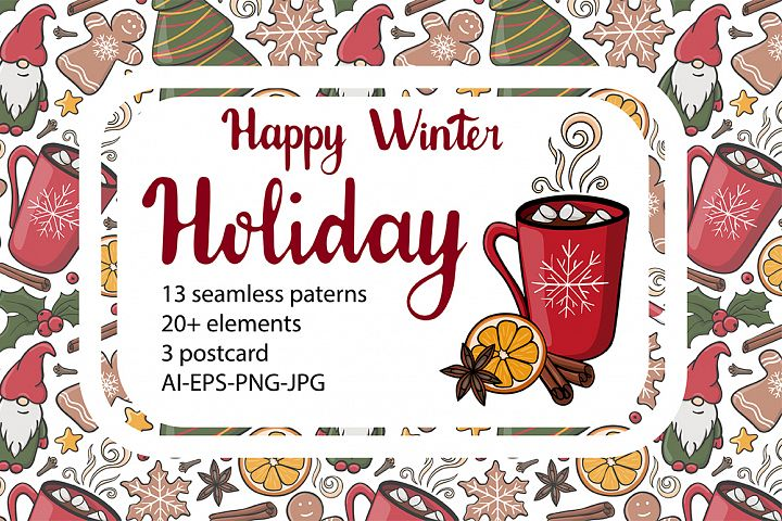 Happy winter holiday collection. Patterns,cliparts,postcards