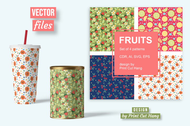 Fruits Seamless Patterned Papers Ai, CDR, SVG, EPS