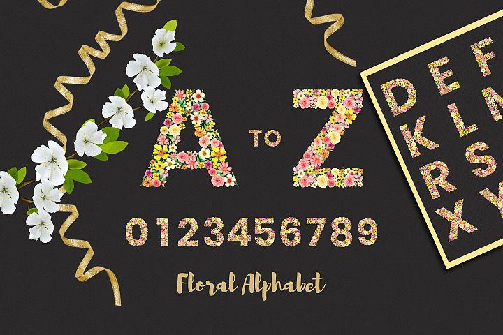 A to Z hand paint watercolor floral alphabet