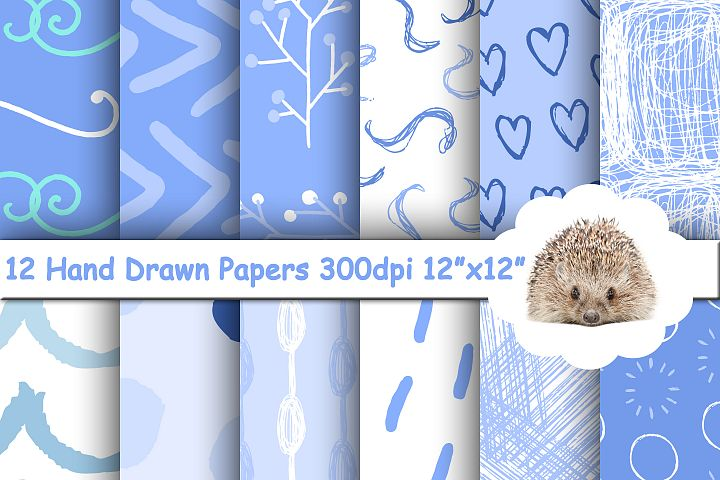 12 Blue Hand Drawn Abstract Patterns / Papers / Backgrounds