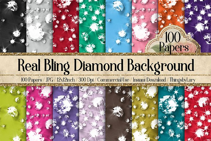 100 Bling Bling Shimmering Real Diamond Background Digital