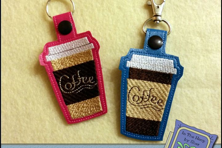ITH Coffee to Go Vinyl Key Fob or Bag Tag - Snap Tab Machine Embroidery