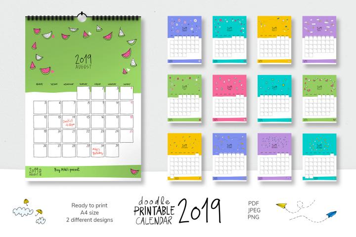 2019 Doodle Printable Calendar