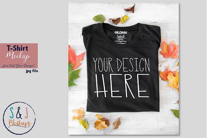 Black tshirt mockup, Gildan shirt mockup photo, fall mockup