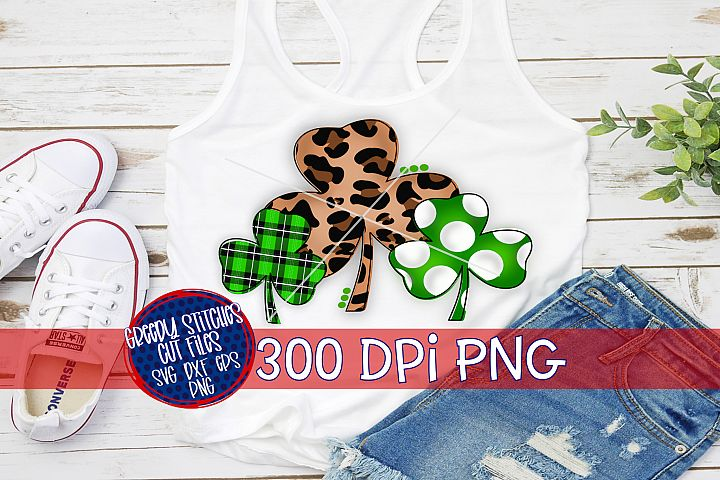 St. Patricks Day | Clover Trio PNG For Sublimation