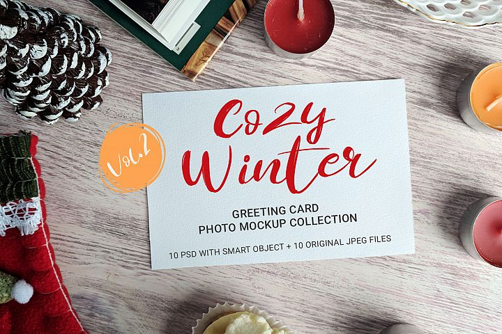 Cozy Winter - greeting card photo mockups - vol.2