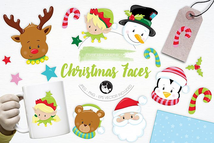 Christmas Faces graphics and illustrations