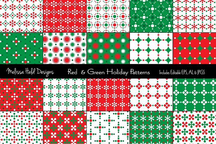 Small Red & Green Holiday Patterns