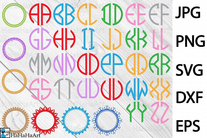 Circle Monogram Alphabet - Clip art / Cutting Files - 70c