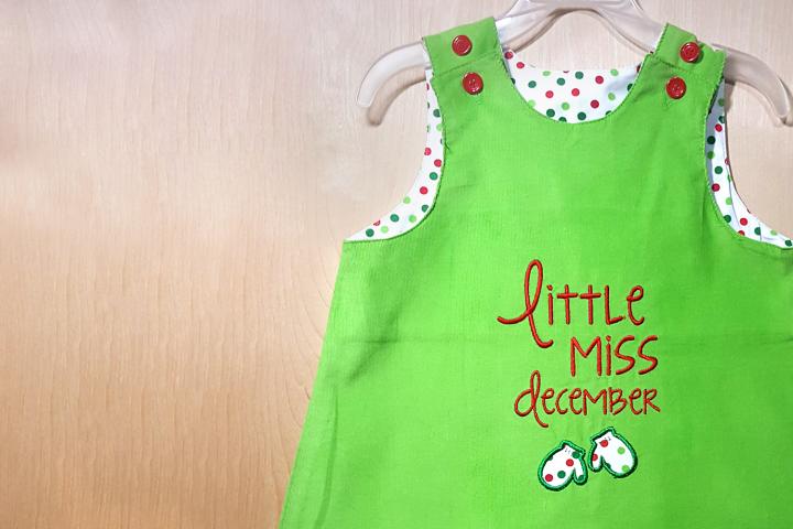 Little Miss December Mittens Applique Embroidery Design