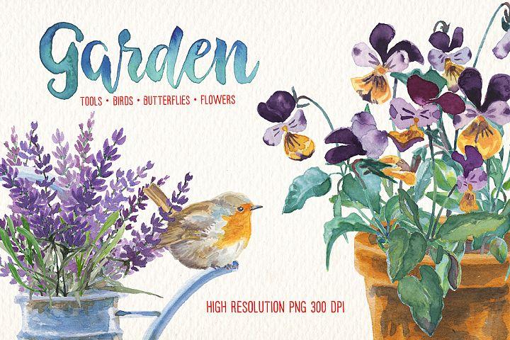 watercolor in the garden clip art
