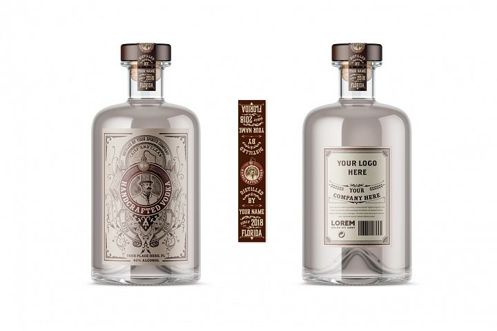 Vintage liquor labels. Vector layered
