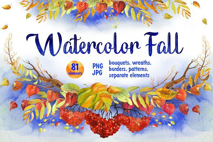 Watercolor Fall Floral Clip Art