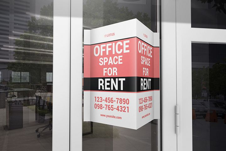 Window V-Signs Board Mockup