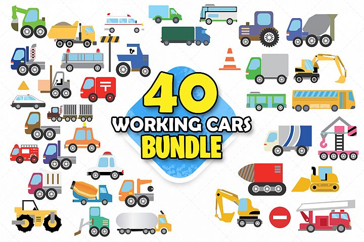 Working cars clipart svg working tracks image stickers work
