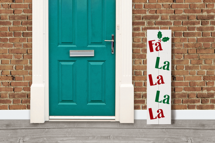 FaLaLa Christmas Porch Sign with Holly SVG Design