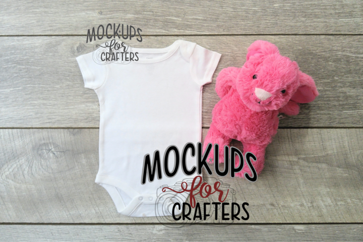 MOCK-UP - White one-piece baby outfit - Dollarama bunny