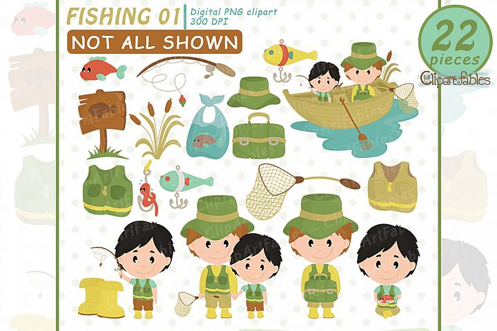 FISHING clipart, Cute FATHERS DAY clip art, Instant Downloa