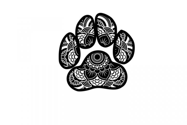 Dog Paw Print Mandala SVG FIle, Cutting File, Cricut, Silhou