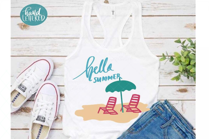 Hello summer svg, summer cut file, beach svg, beach scene
