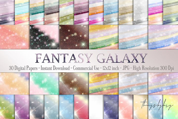 30 Fantasy Galaxy Rainbow Starry Night Sky Digital Papers