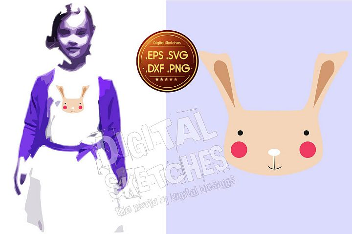 Bunny Vector Graphic, Bunny Cut File, Easter Bunny SVG