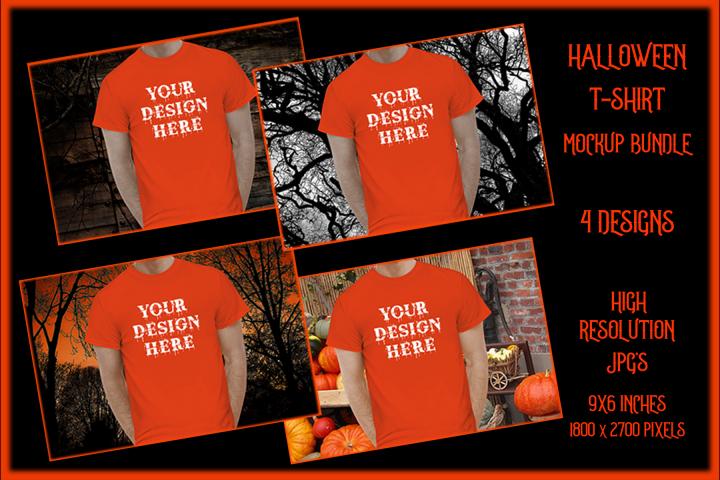 Halloween Men t-shirt Mockup Bundle, Orange Shirt Mock-Up