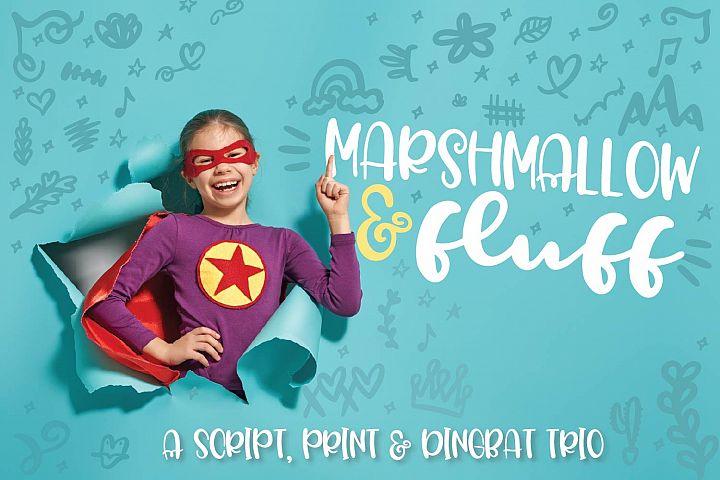Marshmallow Fluff - A Script, Print & Dingbat Trio