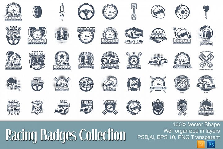 45 Racing badges collection