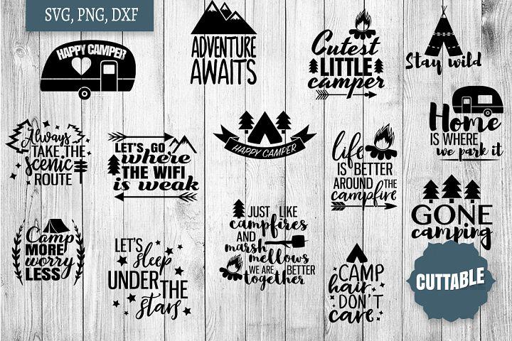 Camper SVG bundle, Camping quote cut files, Camp SVGs