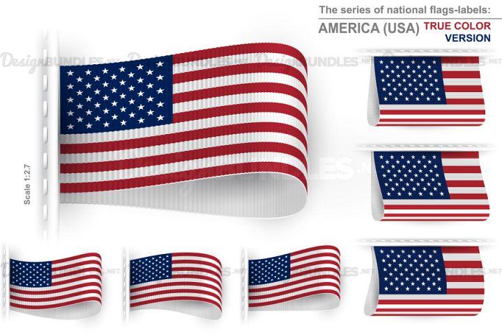 Vector USA True Color Flag Tag Clothes Label Sticker Sewn